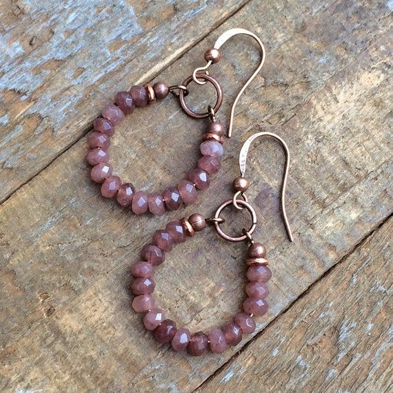 Photo of Pink Hoop Earrings, Boho Bridesmaid Gifts, Pink Mauve Stone Jewelry, Small Copper Hoop Earrings, Gif