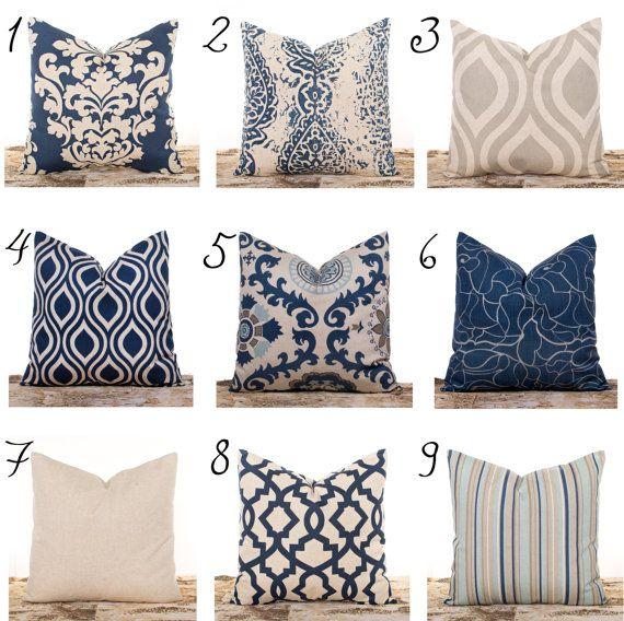 Ends Soon Navy Throw Pillows Burlap Pillow Covers Lattice Damask Stripes Natural Linen Fabric Blue And Tan Ogee Print Pillow Navy Throw Pillows Throw Pillows Blue Throw Pillows