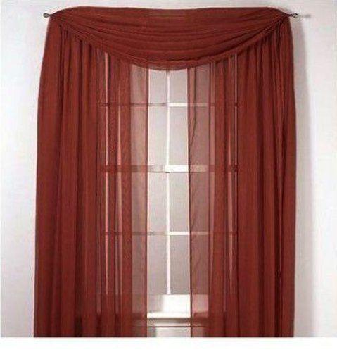 2 Piece Solid Brick Sheer Window Curtainsdrapepanelstreatment 60