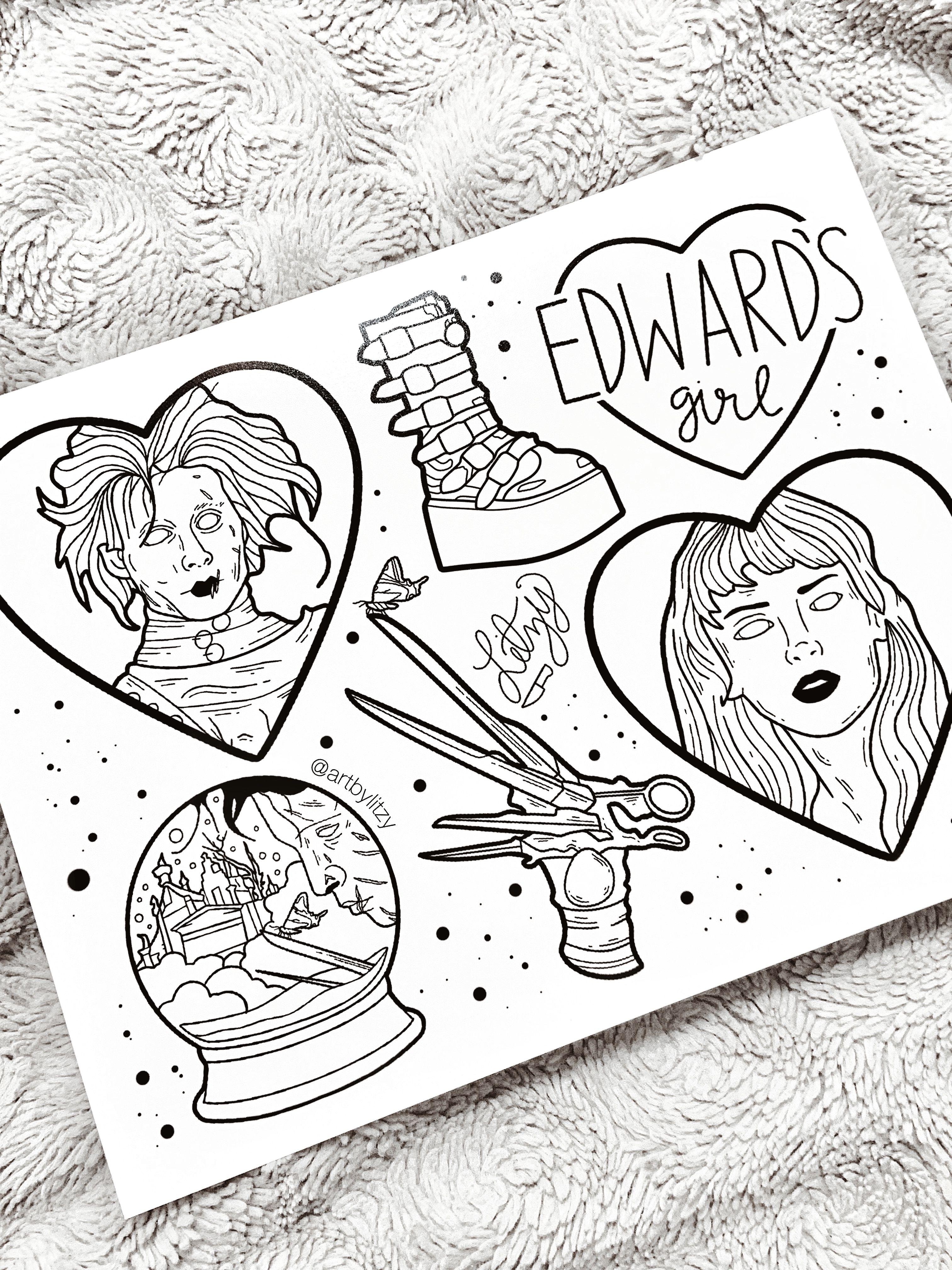 Tattoo Designs Flash Sheet Tim Burton Edward Scissorhands Gothic
