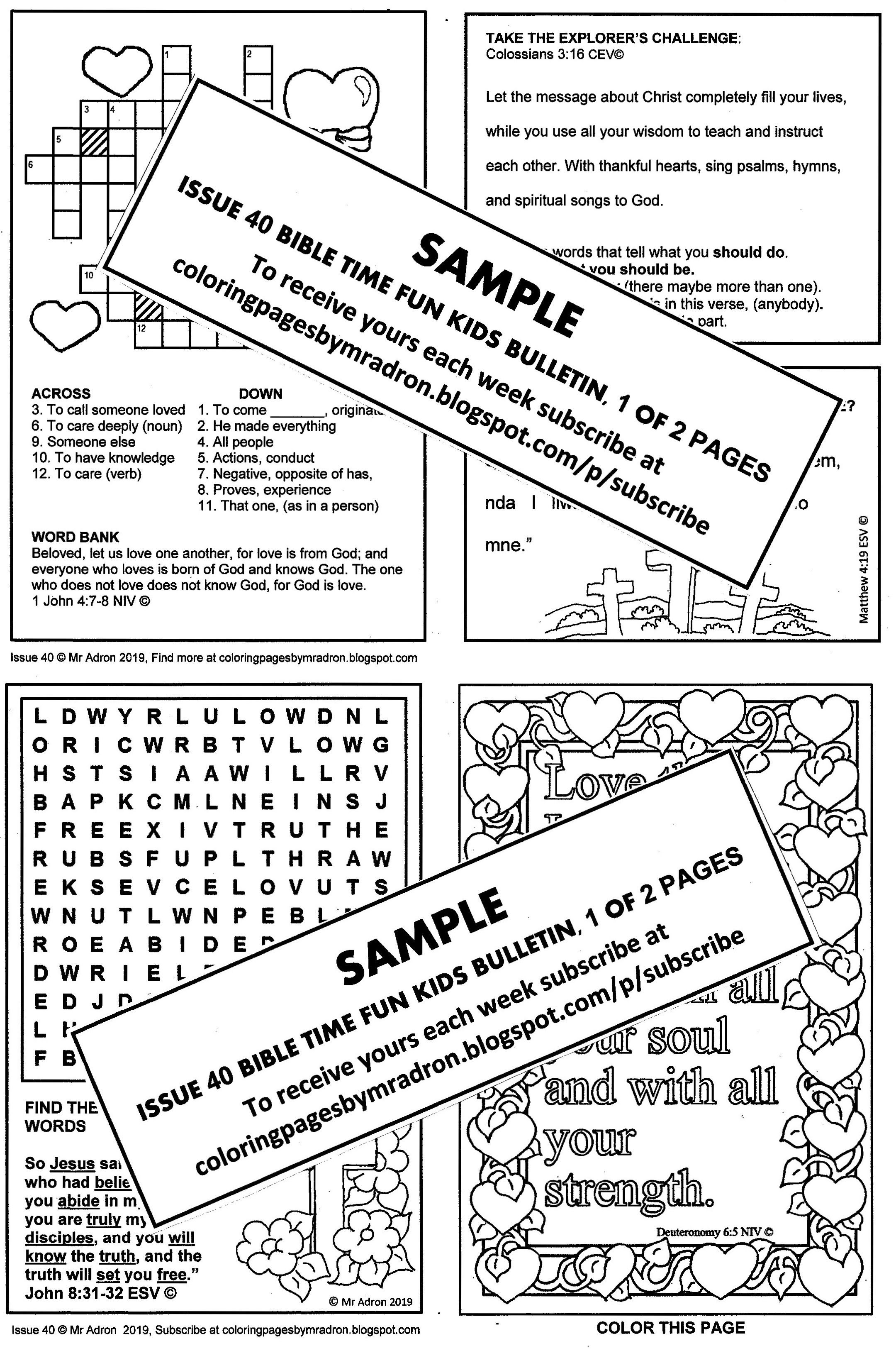 Print and distribute the kid's Bible activity bulletin. It