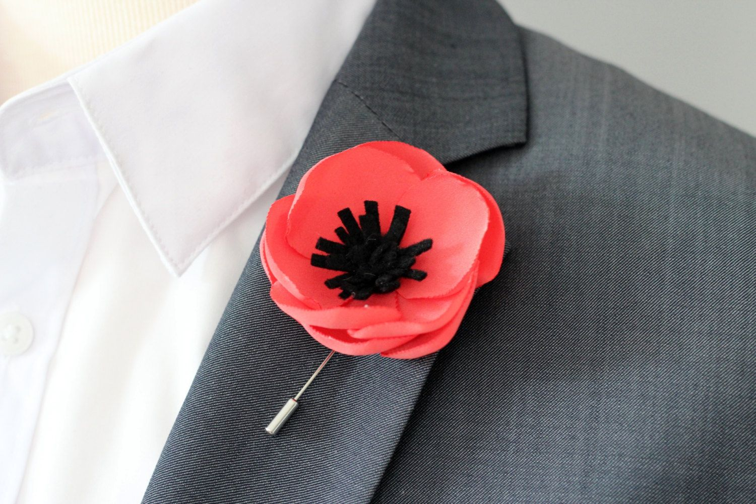 Grooms Wedding Boutonnieres Mens Lapel Pin Red Poppy Anemone