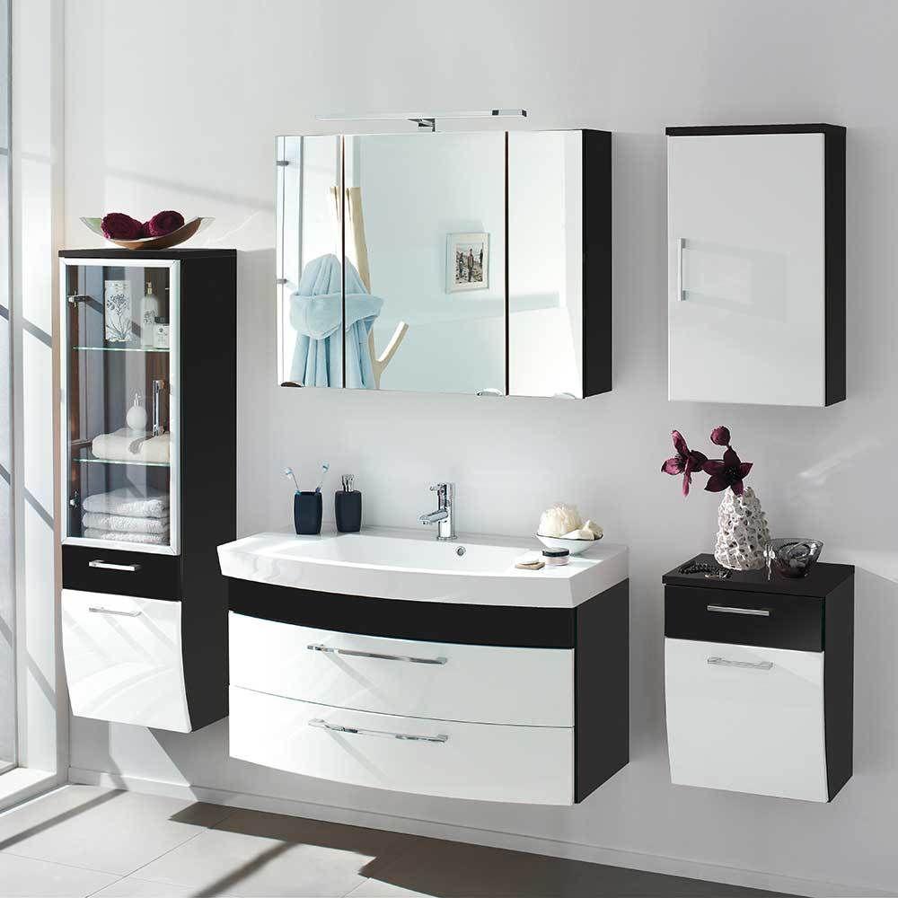 Badmöbel Komplettset In Weiß Hochglanz Anthrazit Modern (5 Teilig) Jetzt  Bestellen Unter:
