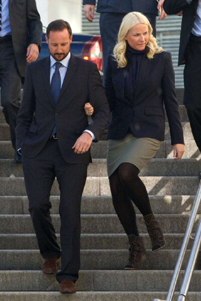 Prince Haakon of Norway and Princess Mette-Marit of Norway attend the Resources gone astray conference at Astrup Fearnley Museum