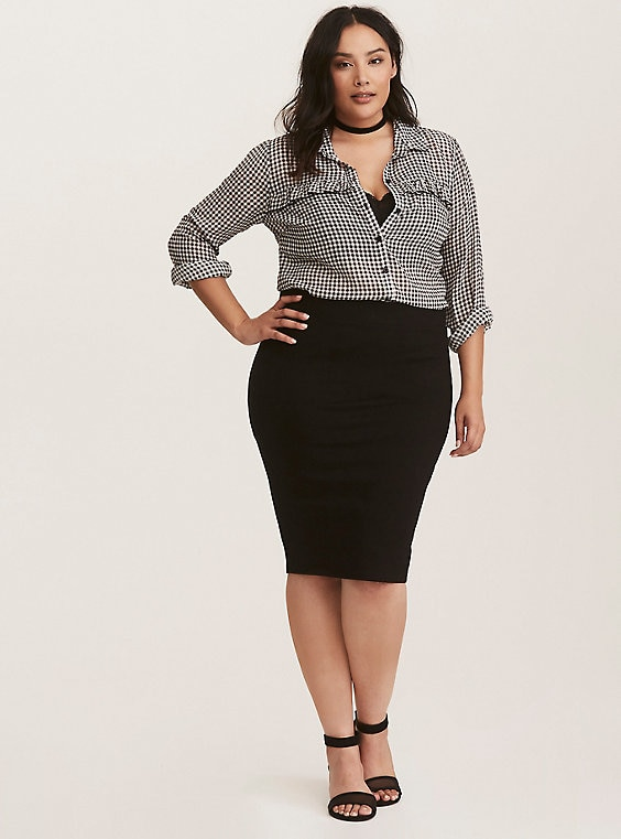 36790a401e8 Black Ponte Pencil Skirt in 2019 | Products | Pencil skirt outfits ...