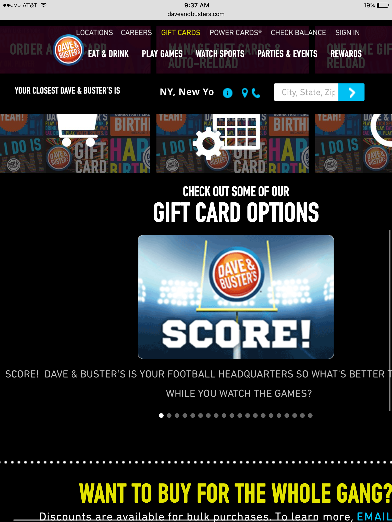 Dave and Busters Gift Card $50