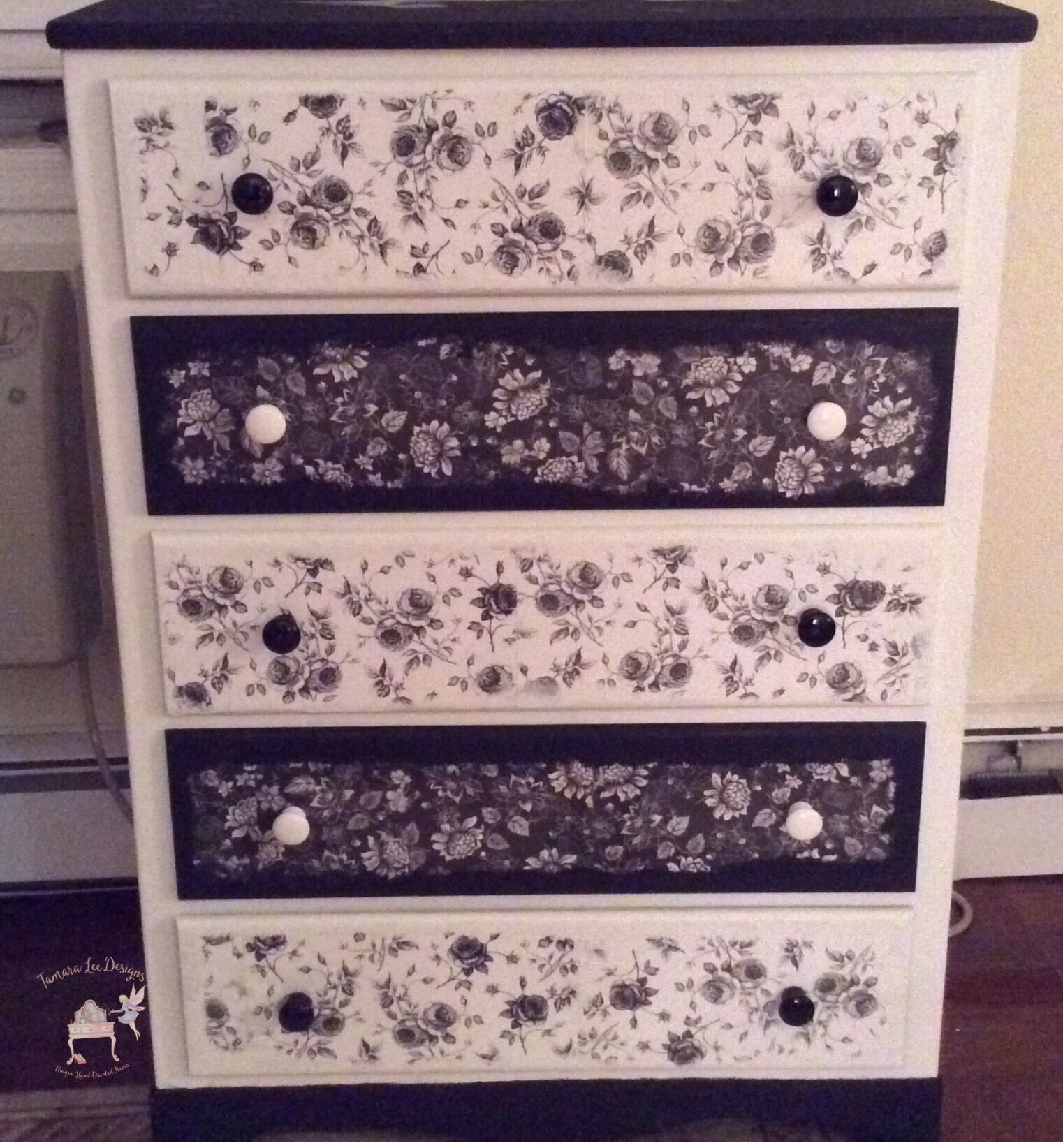 Black and white dresser Painted and decoupaged with wallpaper