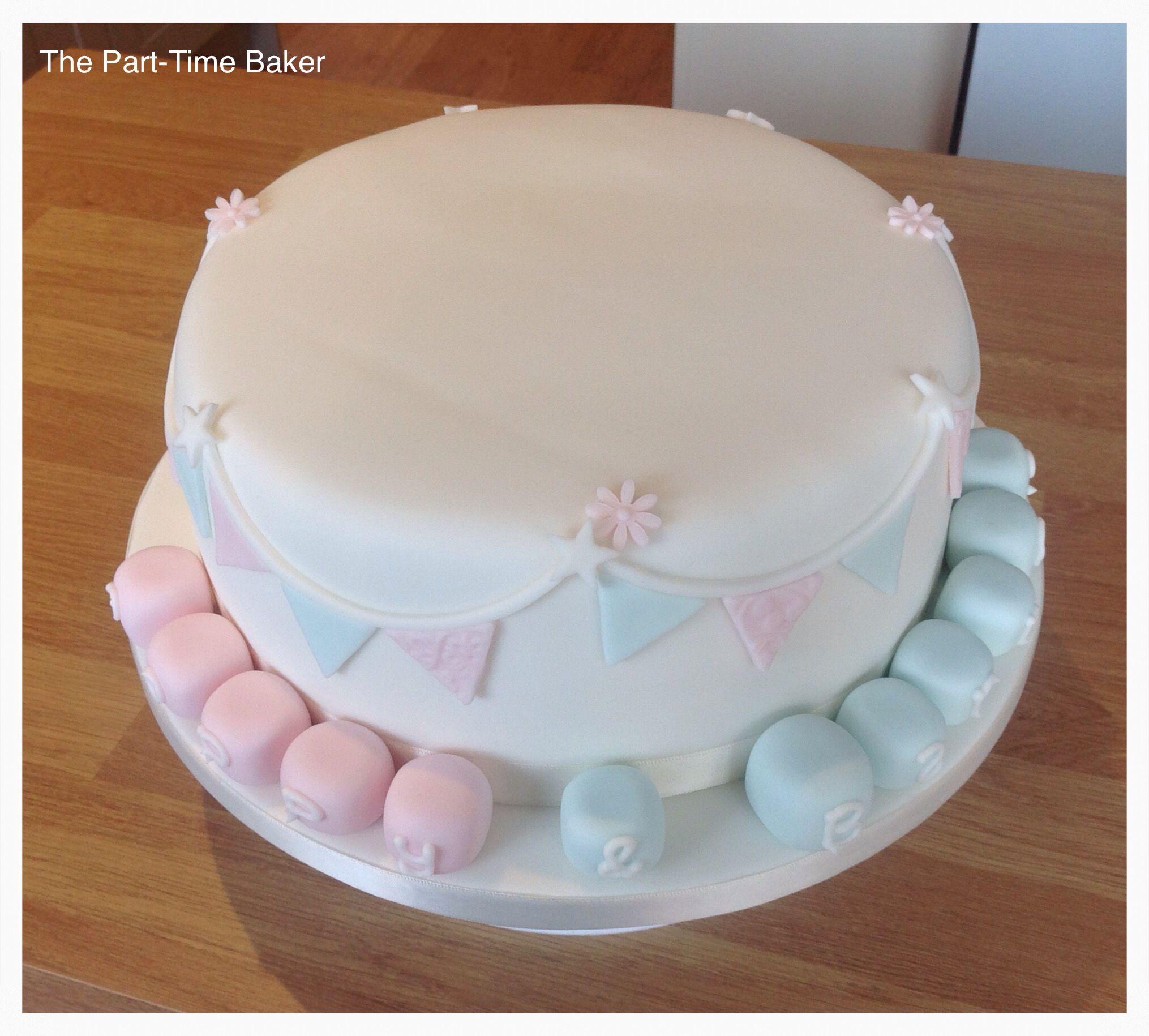 Unisex christening cake