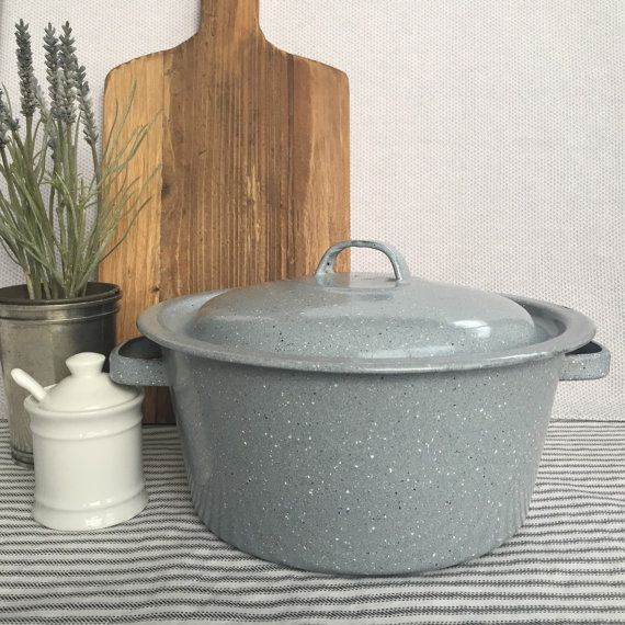 Classic and Simple Light Gray Enamel Stock Pot by honeyhomemarket