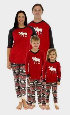 DODOYA Family Matching Christmas Pajamas Set for Family Women Men Kids Baby Christmas Pjs Red Plaid Reindeer Loungewear