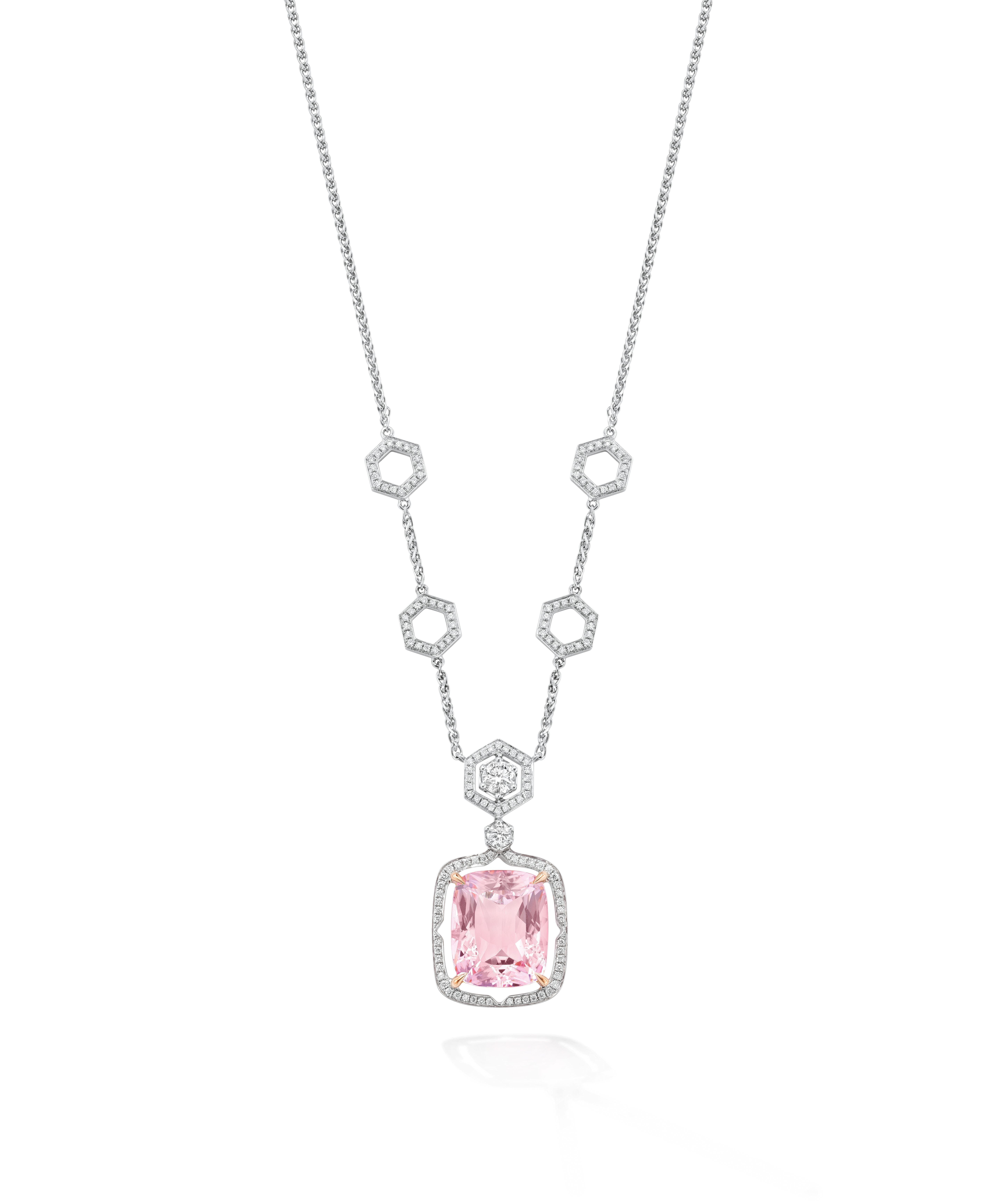 diamond stone necklace jewellery jan coloured fine pendant logan close orbit morganite up pink