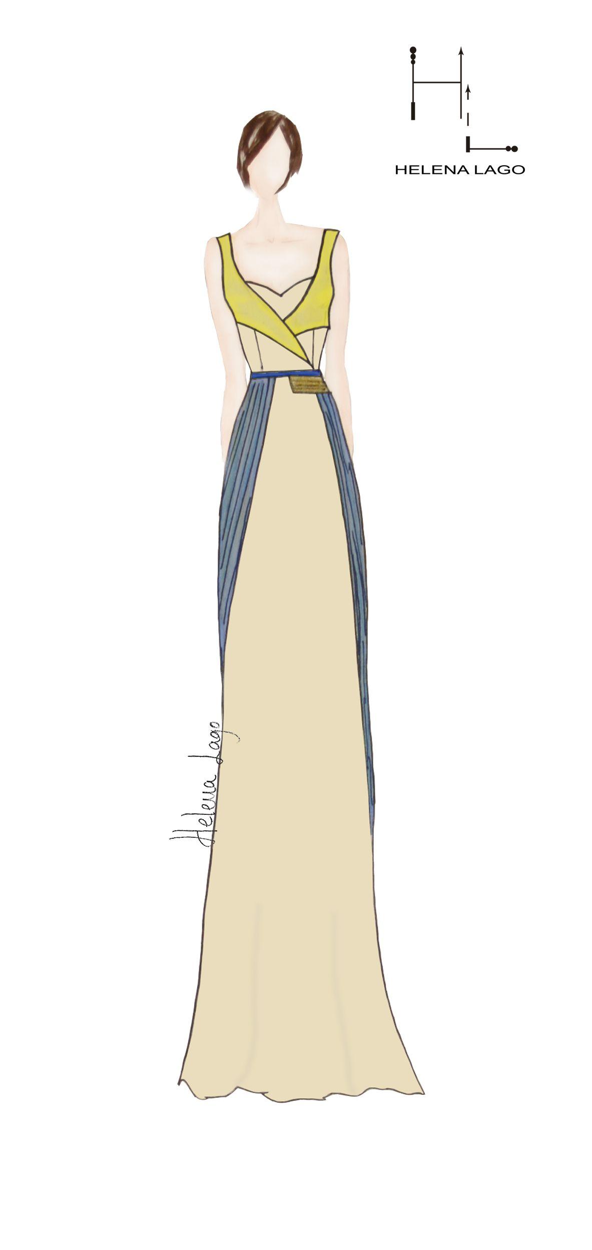 Vestido largo en combina ción de colores con plisado en falda