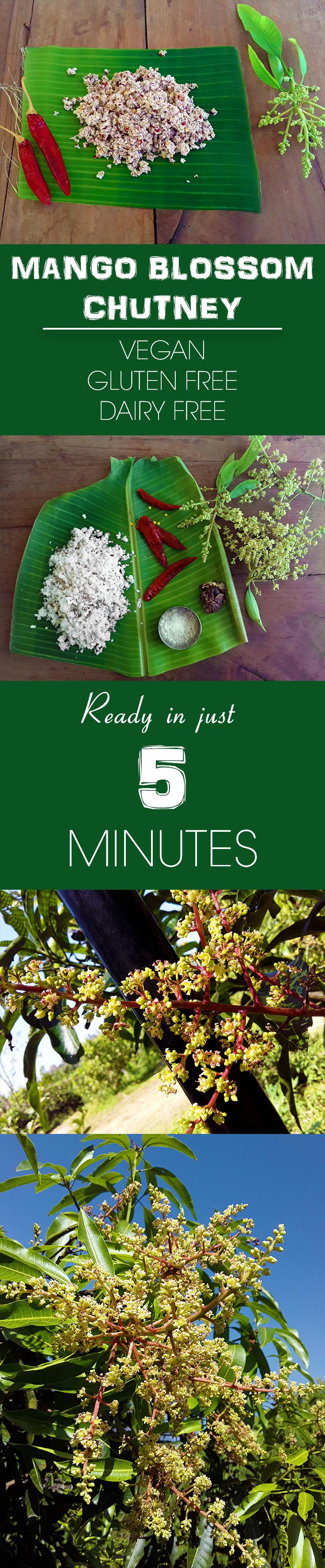 Mango Blossom Chutney - A traditional Konkani hot and tangy, vegan, gluten-free mango blossoms and coconut chutney. A five minute recipe.