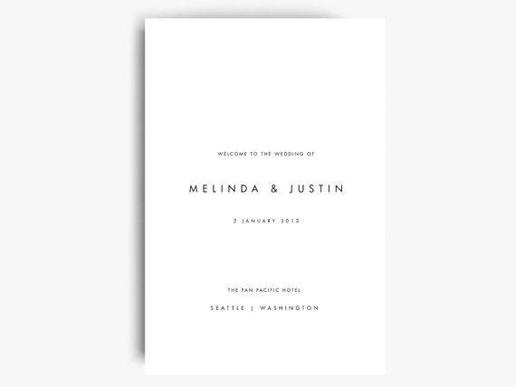 Folded Wedding Program Template Wedding Program Booklet Printable