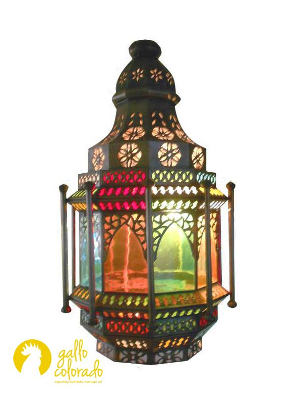 Mexican Aged Tin Lantern With Colored Glass Panels
