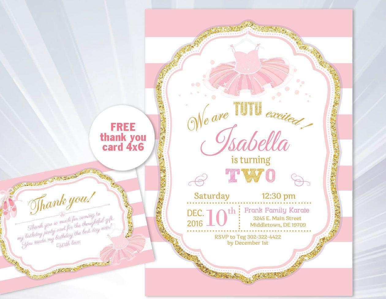 Ballet invitation - Tutu Birthday Invitation - Ballerina Ballet 1st ...