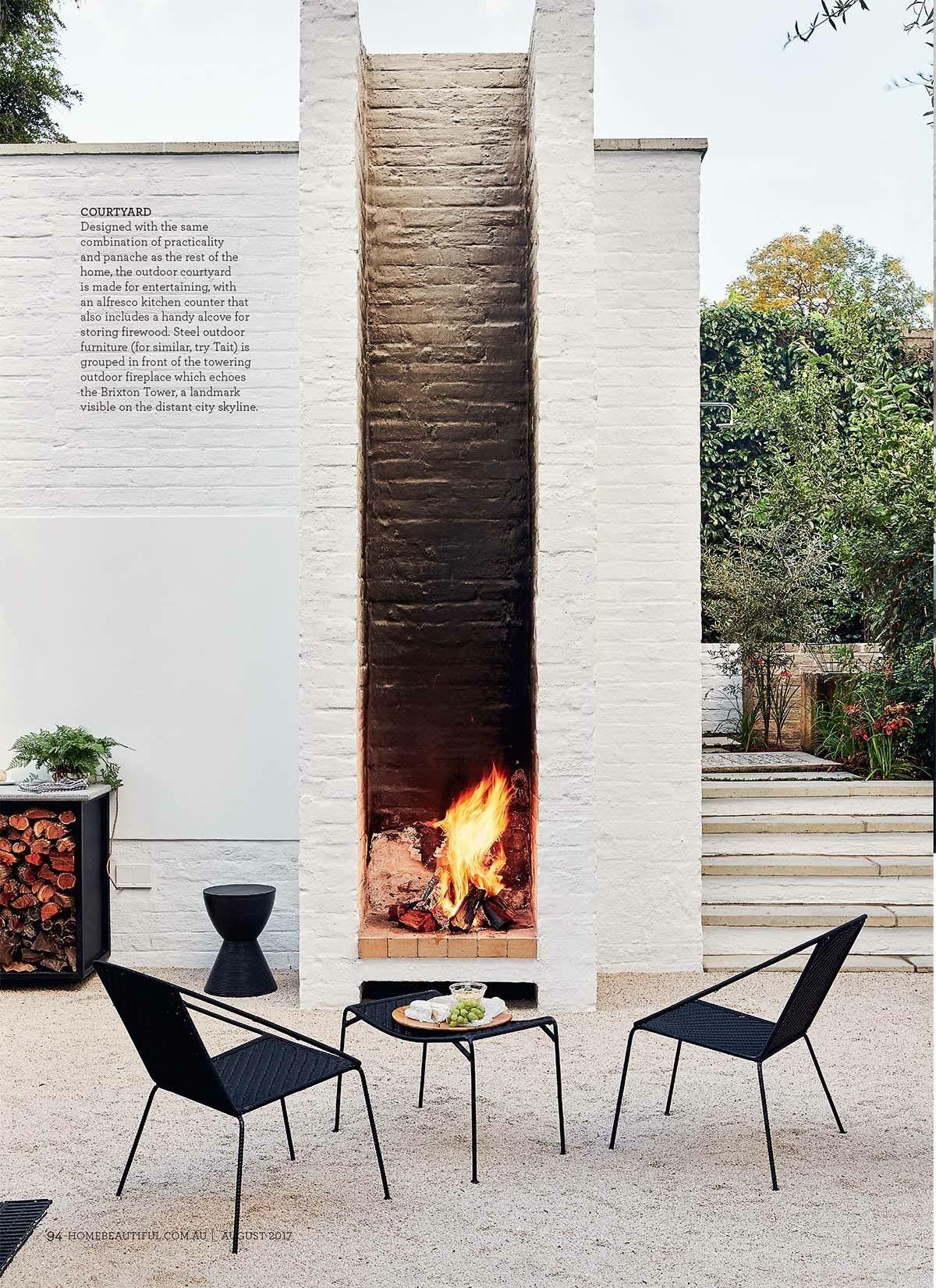 Pin By Alexander Basler On Mollymook Outdoor Fireplace Modern Outdoor Backyard Design