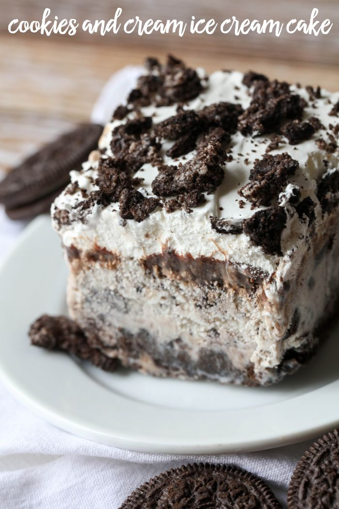 Cookies and Cream Ice Cream Cake layers of Oreos Cookies and