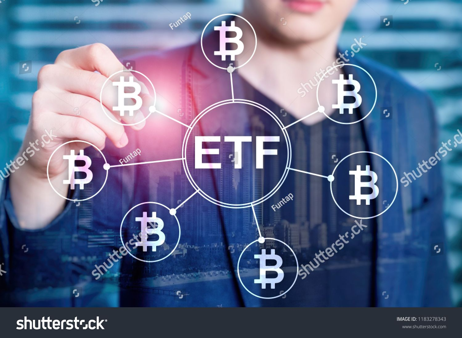Bitcoin Etf Cryptocurrency Trading And Investment Concept On
