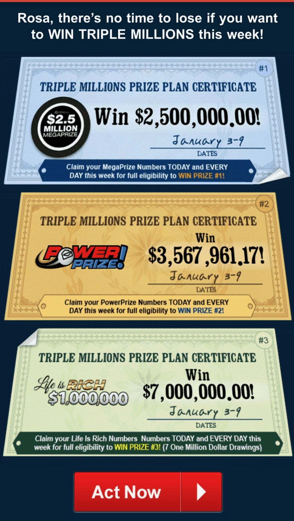 PCH TRIPLE MILLIONS CERTIFICATES I Rosa Rojas Claim my Ownership to