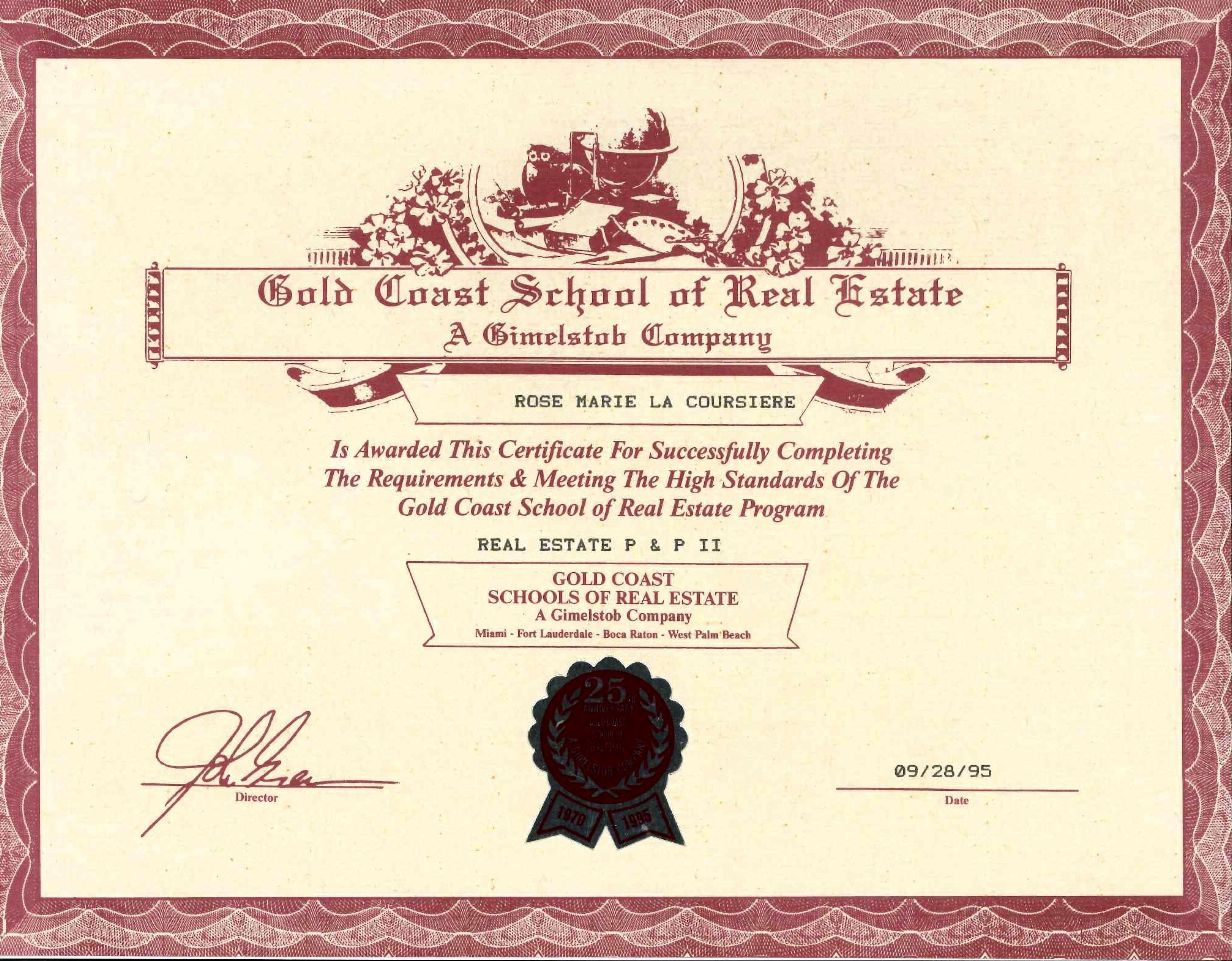 Rosemarie Lacoursiere Real Estate Education Certification 1995