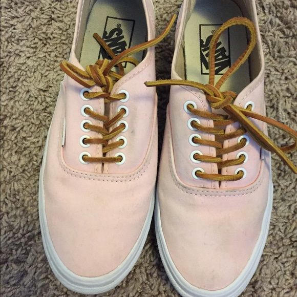 ec7fb81a58 Authentic Slim Brushed Twill Vans in Light Pink Light pink vans with Leather  laces! Barely worn