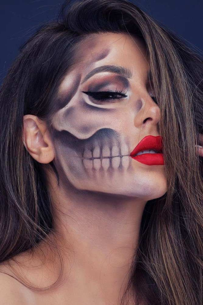 Really Cool Skeleton Makeup Ideas to Wear This Halloween ★ See more: glaminati… - Schönheit #makeupideas