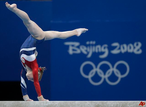 Ksenia Semenova (Russia) on balance beam at the 2008 Beijing Olympics