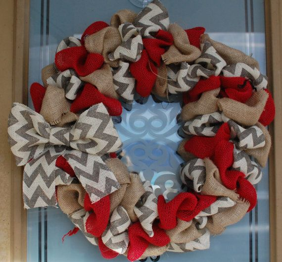 Spring Kitchen Cary: Burlap Wreath With Red, Natural And Gray/White Chevron