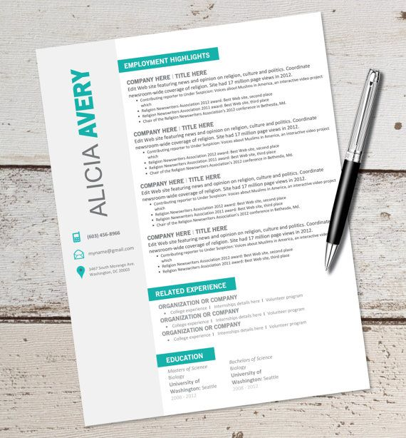 INSTANT DOWNLOAD - Resume Design Template - Microsoft Word - template for resume microsoft word