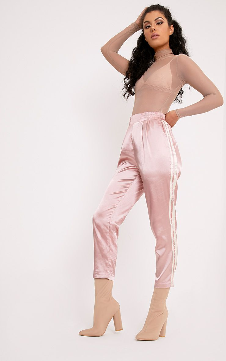 ee8a0c8e Shannon Pink Satin Side Stripe Boxer Joggers | Fests in 2019 | Satin ...