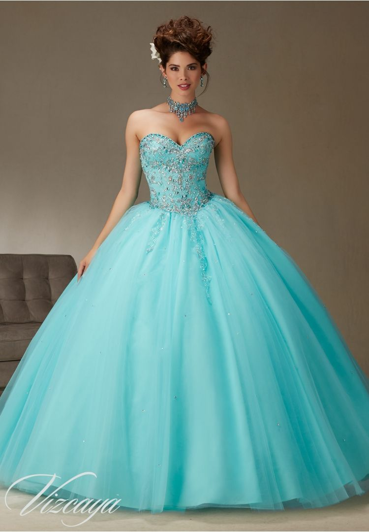 Quinceanera dresses by Vizcaya Tulle Ball Gown with Beading Matching ...