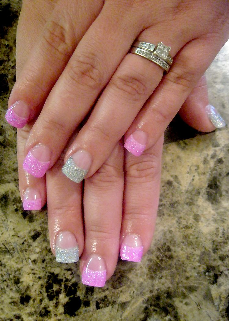acrylic glitter tips'nailsstefanie abila' pink and silver