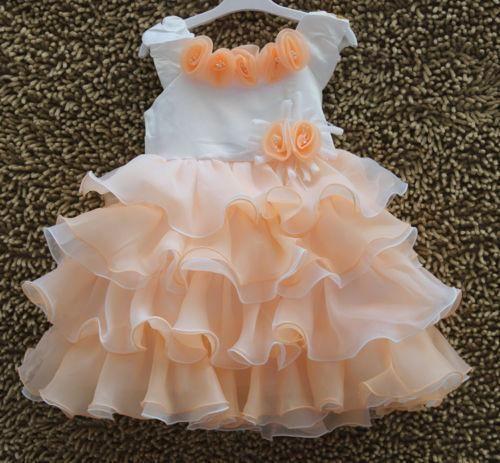Girls Princess Flower Gown Dress 2-8Y