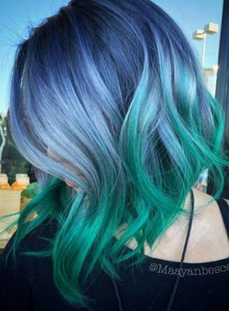 What A Combo Pastel Blue And Green Ombre Dyed Hair Color Hair