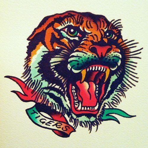Diseño Old School Tigre Buscar Con Google Tattoo Stencils