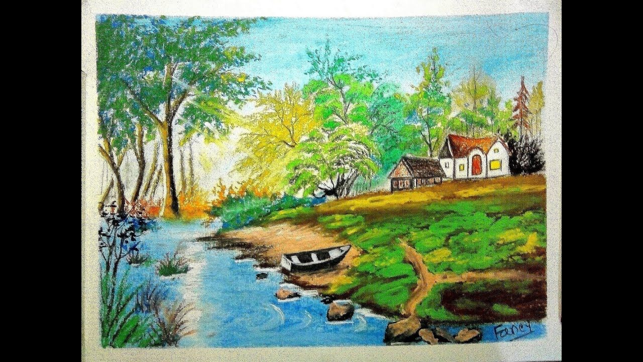 How To Draw Landscape Scenery Of Beautiful Nature Step By Step Easy Landscape Paintings Landscape Drawings Fancy Art
