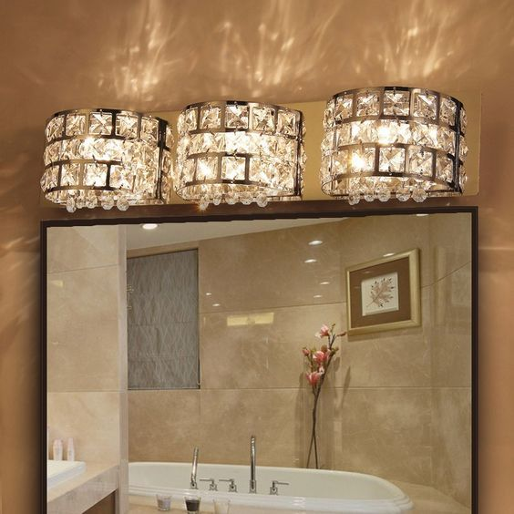 Modern led clear crystals and stainless steel bath vanity light modern led clear crystals and stainless steel bath vanity light wall light in chrome indoor mozeypictures Images