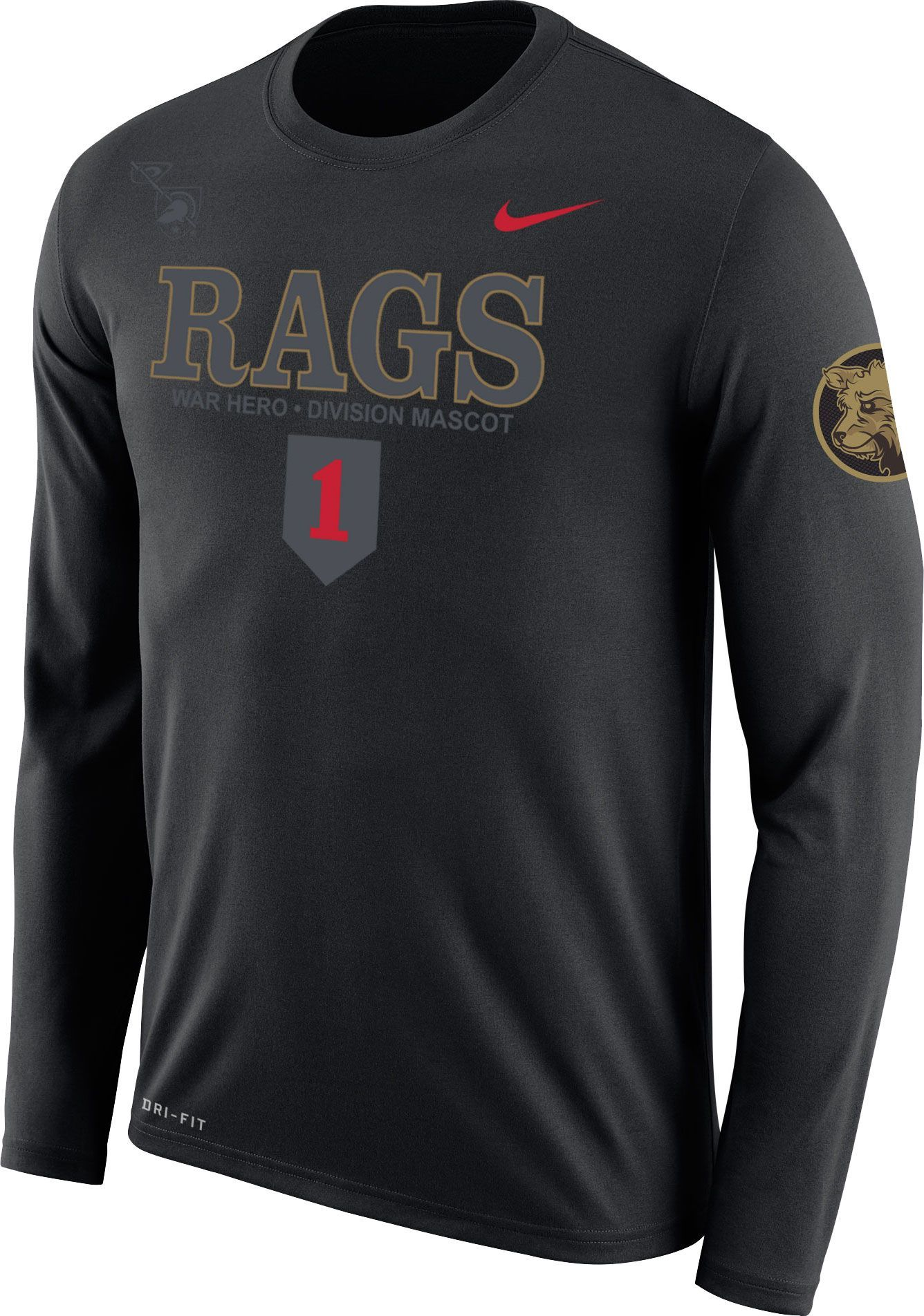 b4775a4e0 Nike Men s Army West Point Black Knights Dri-FIT Rival Army Black Long  Sleeve Tee