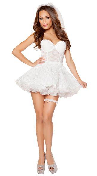 Bridal Babe Costume, Sexy Bride Costume, Lace Bride Costume