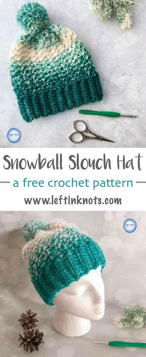 Snowball Slouch Hat Crochet Pattern | Gorros, Patrones de puntos y ...
