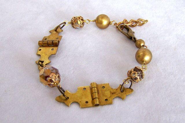 Steampunk Bracelet, Vintage Hinges and Beads  SB017. $40.00, via Etsy.