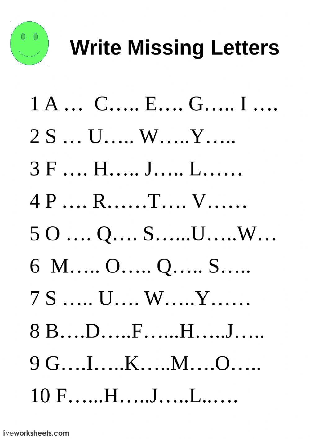 The Alphabet Interactive And Downloadable Worksheet You Can Do The Exercis Letter Worksheets Kindergarten Missing Letter Worksheets Alphabet Letter Worksheets