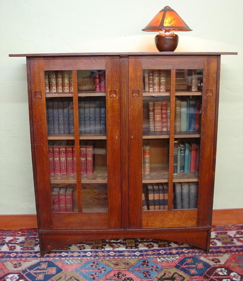 Rare Important Original 1903 Gustav Stickley Harvey Ellis Designed Inlaid Two Door Oak Bookcase