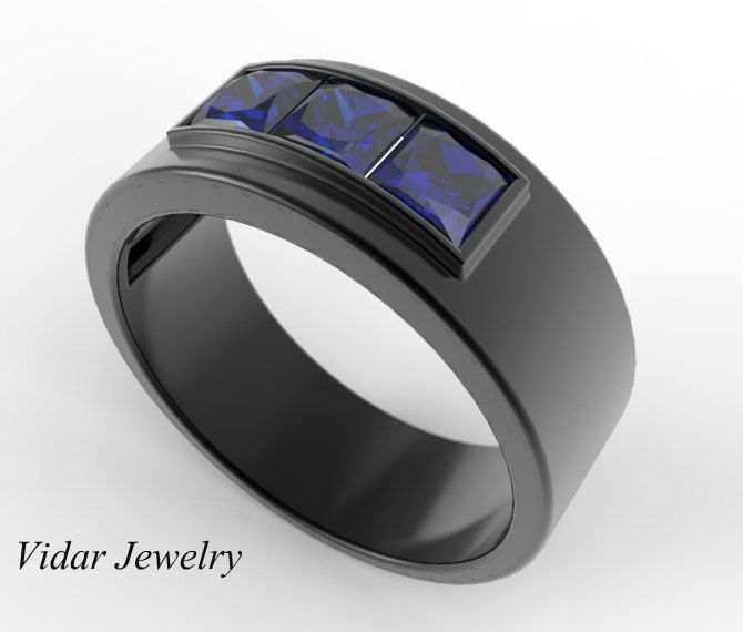 Mens Wedding Band Unique Black Gold Ring With Princess Cut Blue