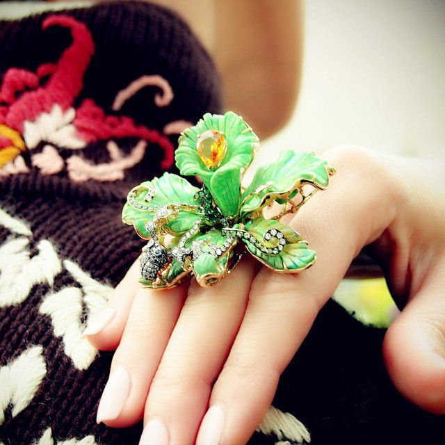 Fancy - Green Turquoise Orchid Ring