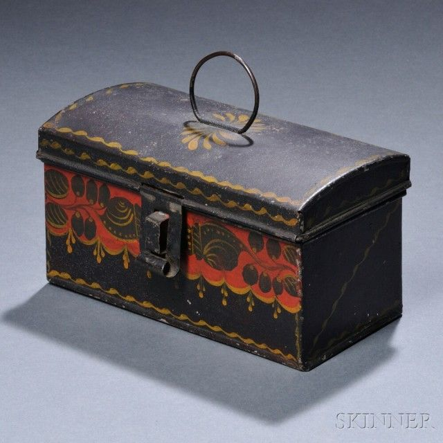 Small Painted Tinware Dome-top Trunk   Sale Number 2680B, Lot Number 179   Skinner Auctioneers