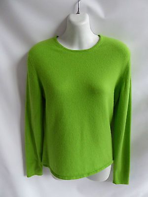 100% Cashmere Sweater Size M Lime Green Scoop Neck Womens TSE 36 ...