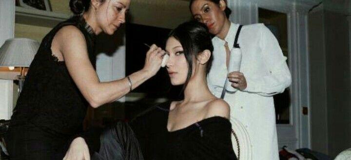 Bella Hadid backstage at the Dior show