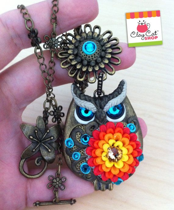 Bronze Polymer Clay OWL - Wearable Art - Made to order
